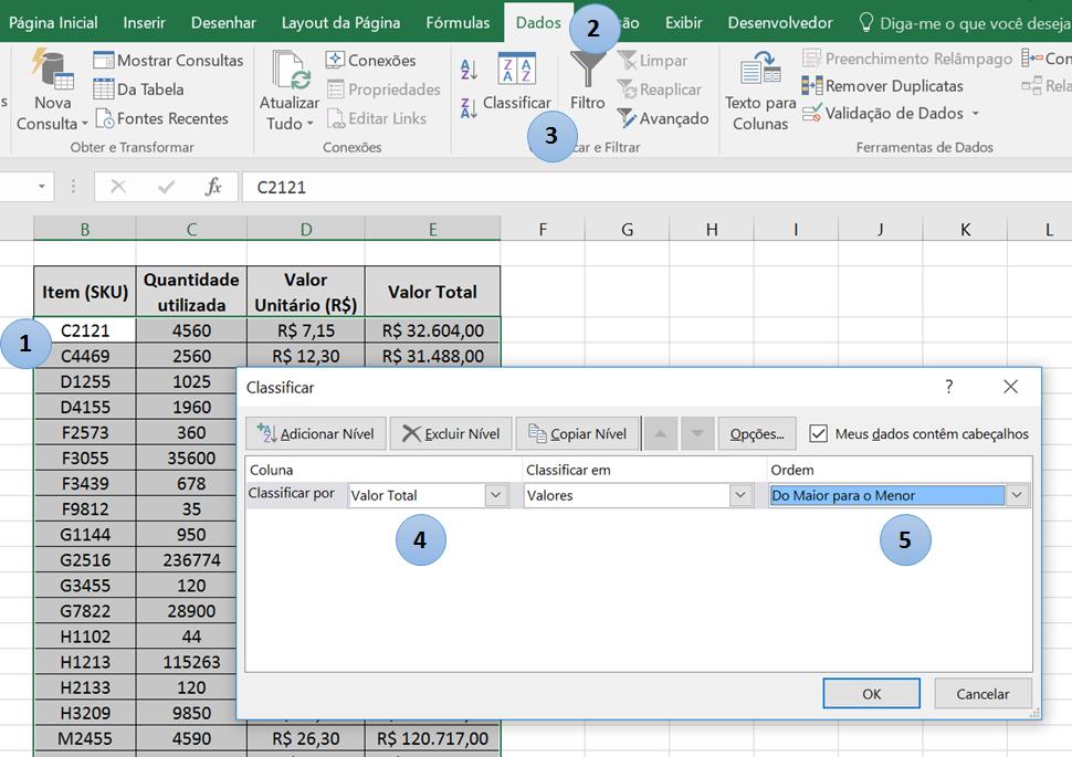 Curva ABC no Excel - Ordenação