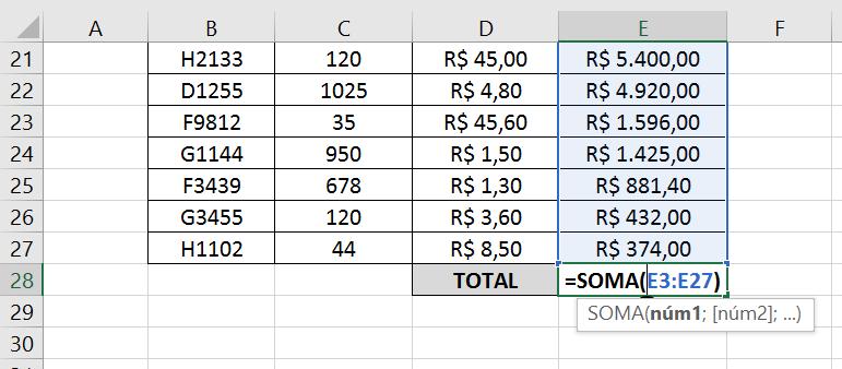 Curva ABC no Excel - Soma Total